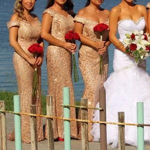 Rose Gold off the shoulder glitter mermaid dress